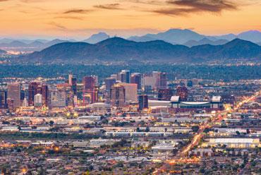Phoenix, Arizona skyline with mountains in the distance